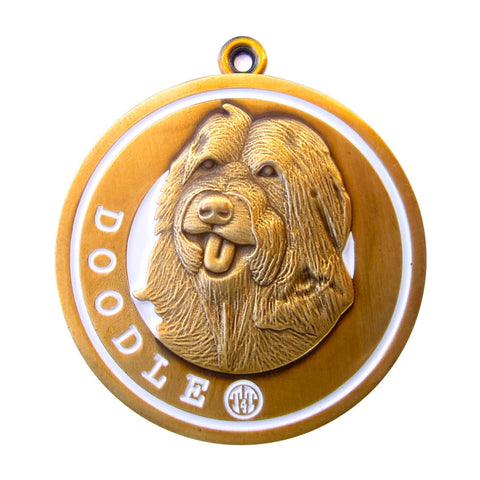 Doodle Dog Id Tag Antique Gold Finish - Tags4Tails
