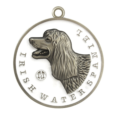 Irish Water Spaniel Dog Id Tag Antique Silver Finish - Tags4Tails