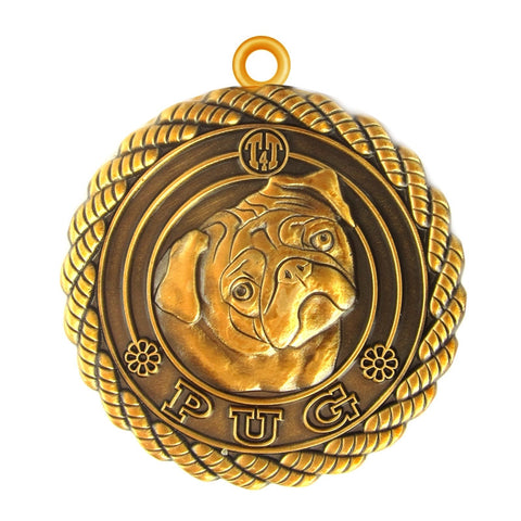 Pug Dog Id Tag Antique Gold Finish - Tags4Tails