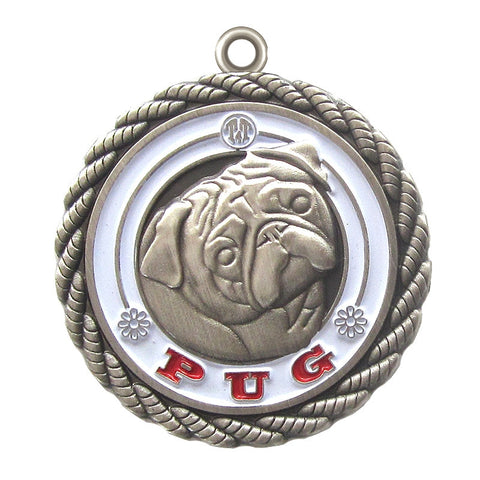 Pug Dog Id Tag Antique Silver Finish - Tags4Tails