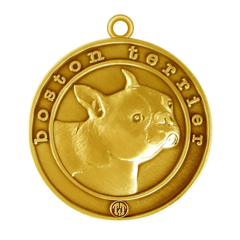 Boston Terrier Dog Id Tag Antique Gold Finish - Tags4Tails