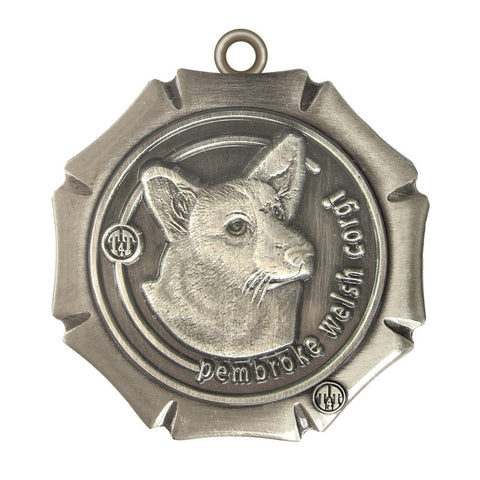 Pembroke Welsh Corgi Dog Id Tag Antique Silver Finish - Tags4Tails