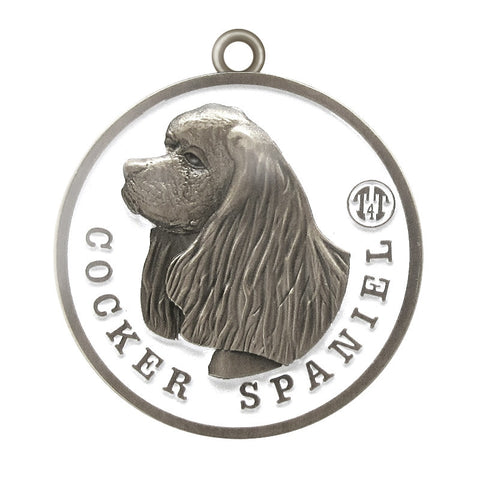 Cocker Spaniel Id Tag Antique Silver Finish - Tags4Tails