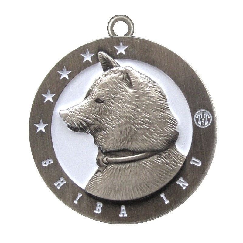 Shiba Inu Dog Id Tag Antique Silver Finish - Tags4Tails