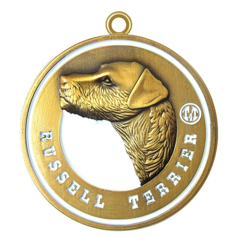 Russell Terrier Dog Id Tag Antique Gold Finish - Tags4Tails