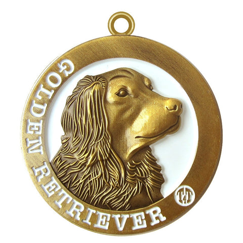 Golden Retriever Dog Id Tag Antique Gold Finish - Tags4Tails