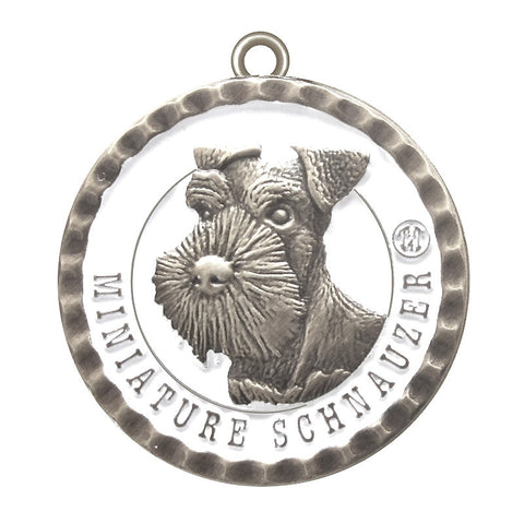 Miniature Schnauzer Dog Id Tag Antique Silver Finish - Tags4Tails