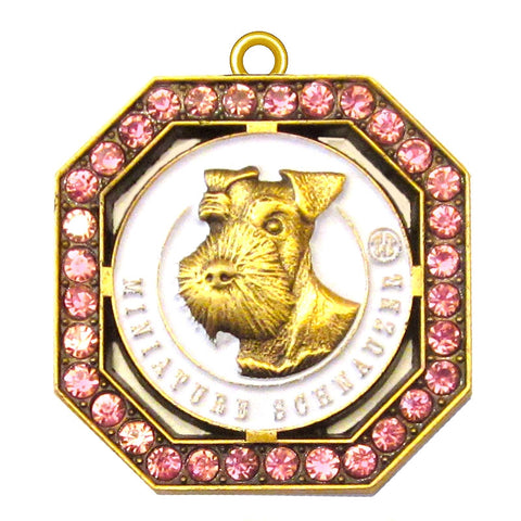 Miniature Schnauzer Dog Id Tag Antique Gold Finish with Pink Stones - Tags4Tails