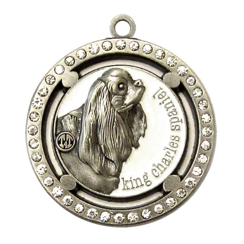 King Charles Spaniel Dog Id Tag Antique Silver Finish Clear Stones - Tags4Tails