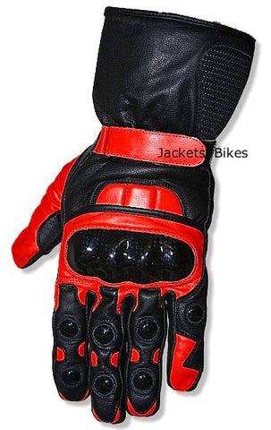 NEW MEN'S MOTORCYCLE BIKE  LEATHER RED GLOVES
