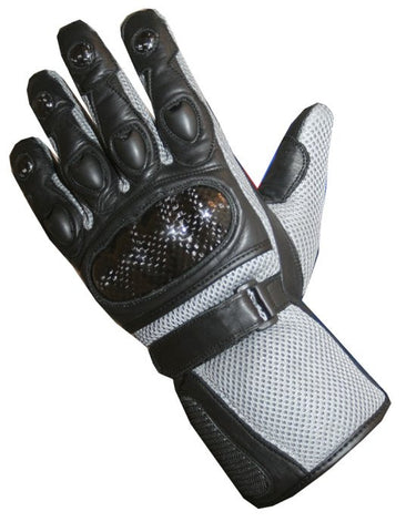 CARBON FIBER Motorcycle Mesh & Leather Bike Gray Gloves