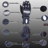 HAWK SLIDER MOTORCYCLE BLACK LEATHER CARBON FIBER STEEL ARMOR BIKER GLOVES