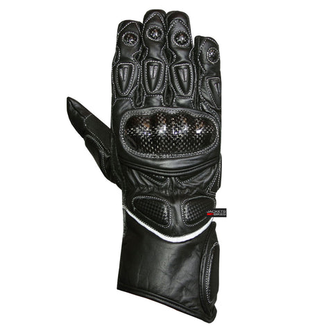 MOTORCYCLE GLOVES CARBON FIBER LEATHER BLACK G66