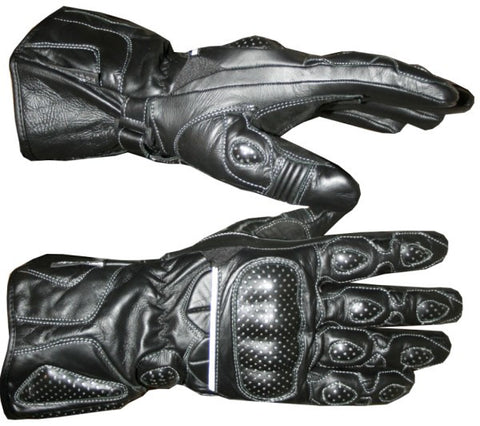 MOTORCYCLE BIKE GLOVES LEATHER BLACK w/ Steel Sheet