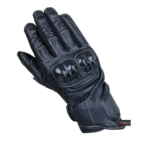 MOTORCYCLE LEATHER GLOVES TPU KNUCKLE BLACK G89