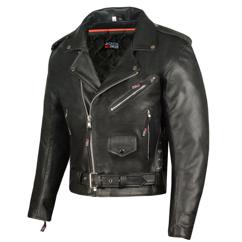 Men's ICONIC Motorcycle Premium Leather Classic Side Lace Biker Jacket