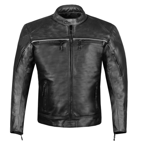 RETRO Mens Premium Leather Motorcycle Cafe Style Street Cruiser Biker Jacket
