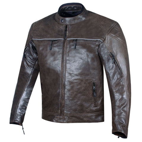 Men's Vintage Distress Brown Leather Cafe Racer Motorcycle Biker Jacket