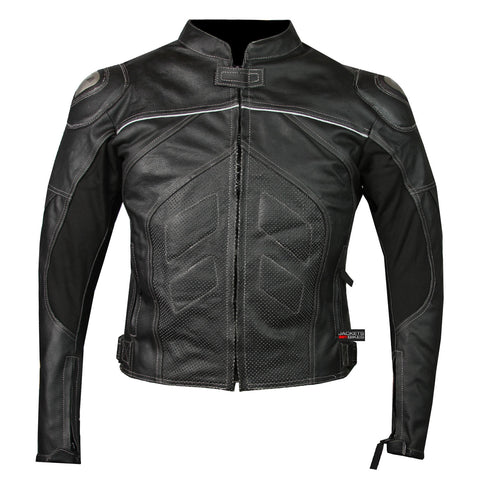 Titanium Motorcycle Leather Jacket Cowhide Street Cruiser Armor Riding Black