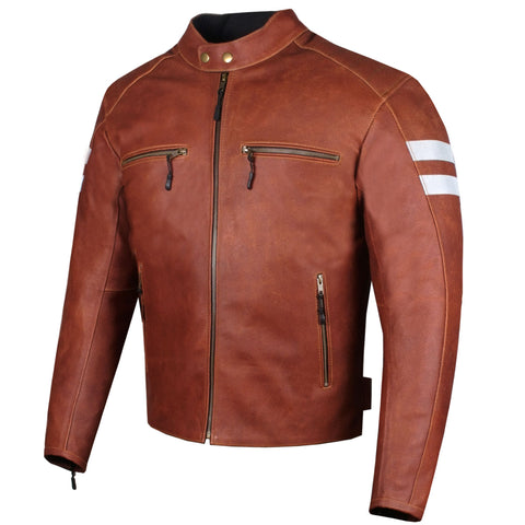 New AXE Men's Leather Jacket Motorcycle Armor Biker Safety Cruiser Brown