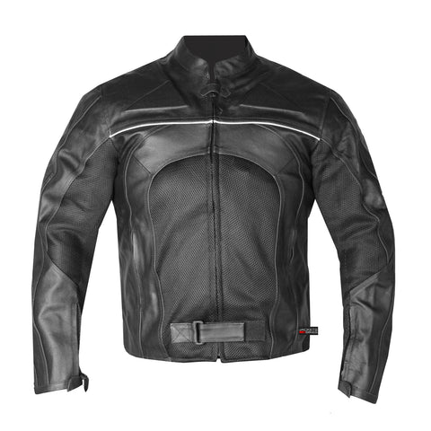 RAZER MENS MOTORCYCLE LEATHER JACKET ARMOR Black