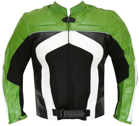 RAZER MENS MOTORCYCLE LEATHER JACKET ARMOR Green