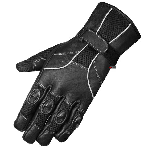 NEW BIKER LEATHER MESH MOTORCYCLE BIKE GLOVES BLACK