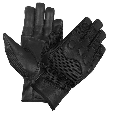 NEW BIKER MESH LEATHER FULL MOTORCYCLE GLOVES BLACK