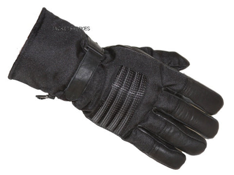 NEW BIKER MOTORCYCLE CORDURA LEATHER GLOVES BLACK