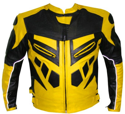 MOTORCYCLE SPEED RACING ARMOR LEATHER JACKET Yellow