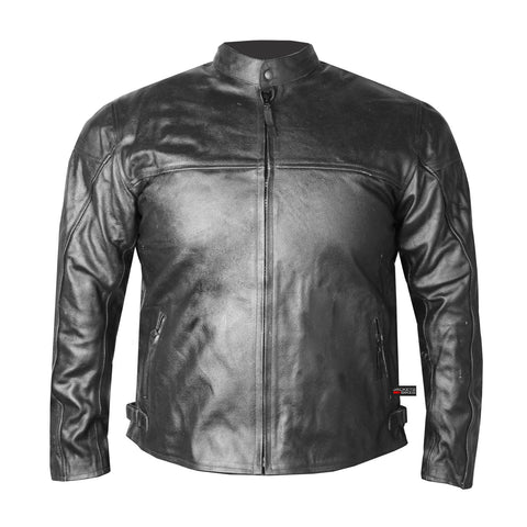 USA MOTORCYCLE TRENDY CE ARMOR LEATHER BIKER JACKET BLACK