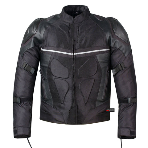 PRO LEATHER & MESH MOTORCYCLE WATERPROOF JACKET BLACK WITH EXTERNAL ARMOR