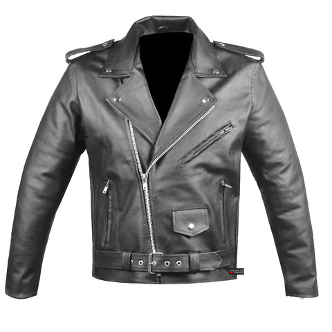 Men's Classic Leather Motorcycle Jacket Biker Style Chopper Police Coat