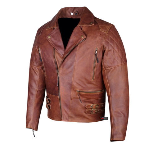 New Men's Vintage Classic Distressed Brown Motorcycle Armor Leather Jacket