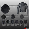 HIGH QUALITY MENS TOURING CLASSIC MOTORCYCLE LEATHER STREET ARMOR JACKET BLACK