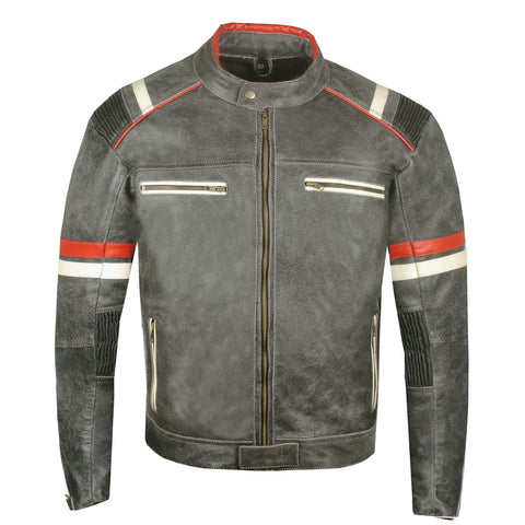 Men's Vintage Cafe Racer Motorcycle Distressed Leather Armor Biker Jacket