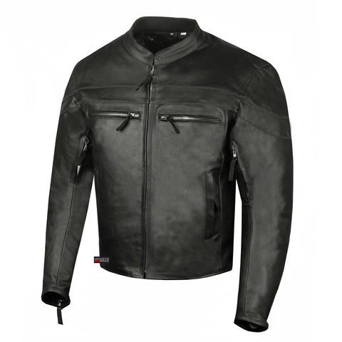 Men's Throttle Motorcycle Ventilated Street Cruiser Armor Biker Black Jacket
