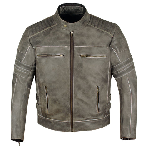 Men's SHADOW Motorcycle Distressed Cowhide Leather Armor Black Jacket Biker