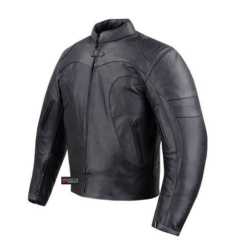 BLACKJACK VENTED BIKER COWHIDE AIR FLOW MOTORCYCLE LEATHER ARMOR JACKET BLACK