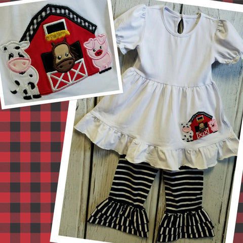 Black and White Farm Applique Pant Set