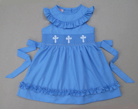 Blue Cross Tie Back Dress - In Stock