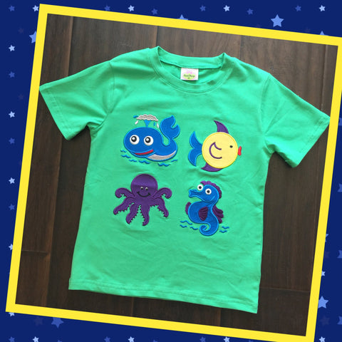 Green Sea Friends Applique Tee