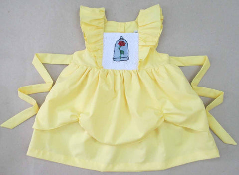 Yellow Rose in Glass Smocked Dress -Ready To Ship