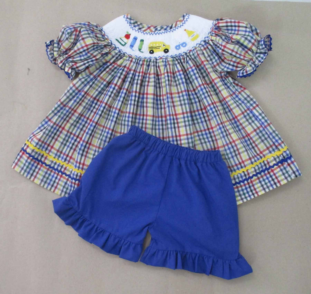 Apple and Book and scissors Plaid Girls Smocked Short Set