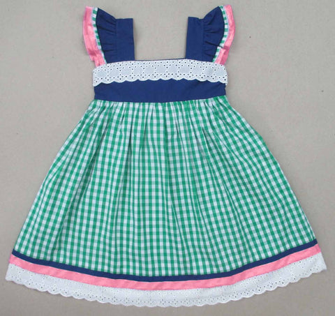 Green Check with Navy, Pink and Lace Dress 18