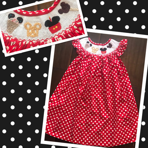 Mouse Treats Smocked Dress