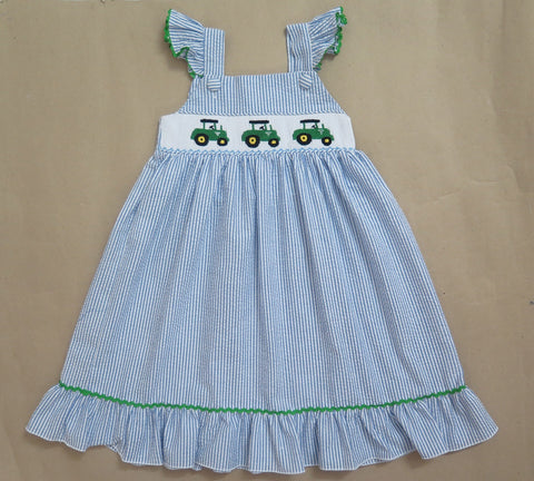 Seersucker Summer Tractor Smocked Dress-