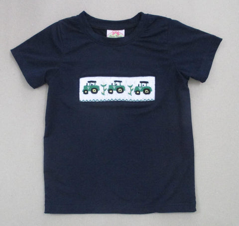 Navy Tractor Smocked Tee