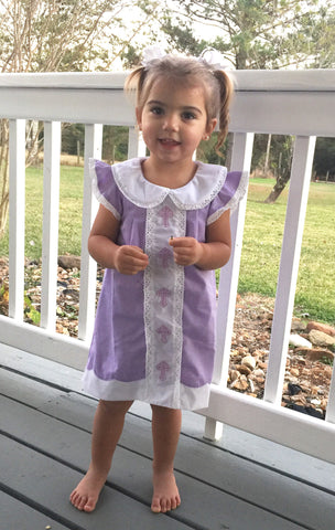 Purple Cross Embroidered Dress