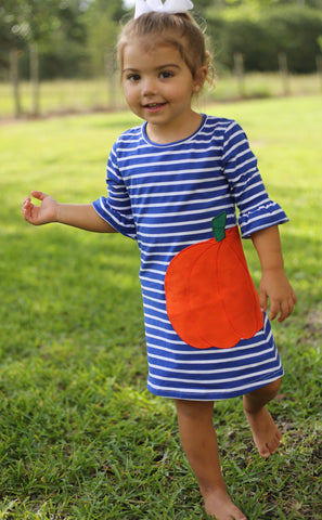 Blue Stripe Pumkin Knit Dress